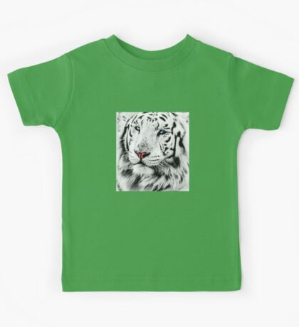 White Tiger Portrait Kids Tee