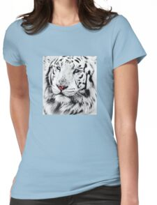 White Tiger Portrait Womens Fitted T-Shirt
