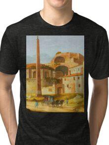 Ruin Building and spire landscape Tri-blend T-Shirt