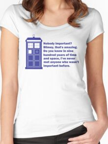 Nobody Important Dr. Who deisgn. Women's Fitted Scoop T-Shirt