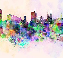 Vienna skyline in watercolor background by Pablo Romero