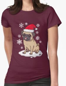 Christmas Pug (red) Womens Fitted T-Shirt