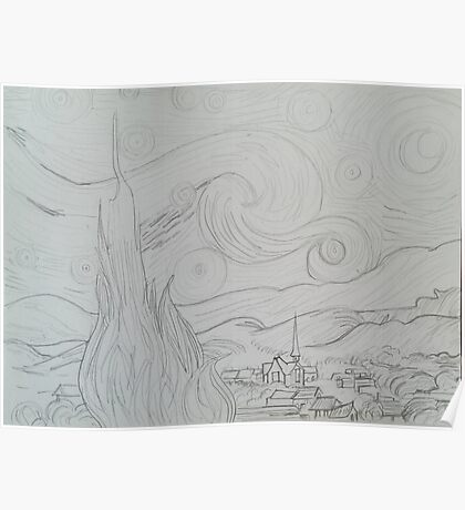 Drawing of Starry Night by Vincent Van Gogh Poster