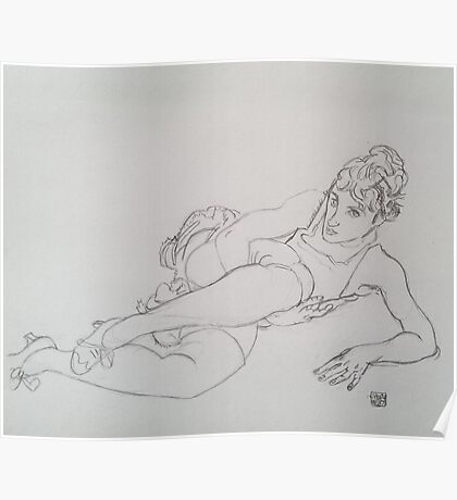 Drawing of a Girl in Green Stockings by Egon Schiele Poster