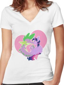 Twilight and Spike Smooch Women's Fitted V-Neck T-Shirt