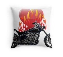 Burning Biker Love Throw Pillow