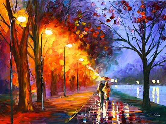 ALLEY BY THE LAKE OIL PAINTING BY LEONID AFREMOV by Leonid  Afremov