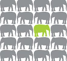 One Green Elephant in the Herd by starstreamdezin