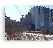 High Line, Snow View, High Line Headquarters, Whitney Museum Under Construction, New York City  Canvas Print