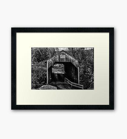 Grange City Covered Bridge - BW Framed Print