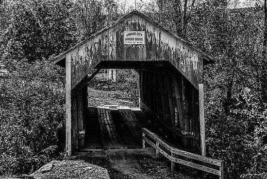 Grange City Covered Bridge - BW by mcstory