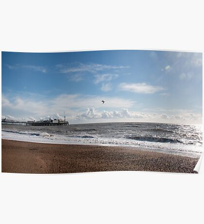 Brighton Pier and Clouds Poster