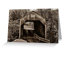 Grange City Covered Bridge - Sepia Greeting Card