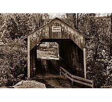 Grange City Covered Bridge - Sepia Photographic Print