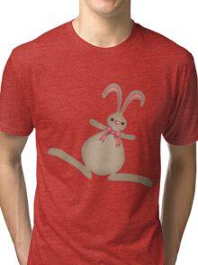 cute cartoon bunny rabbit with pink bow Tri-blend T-Shirt