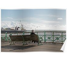 Person on Brighton Bench Seat Poster