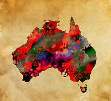 WATERCOLOR MAP of AUSTRALIA by Daniel-Hagerman