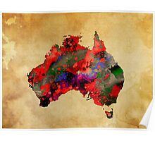 WATERCOLOR MAP of AUSTRALIA Poster