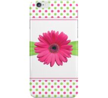gerbera daisy flower hot pink green polka dot ribbon iPhone Case/Skin