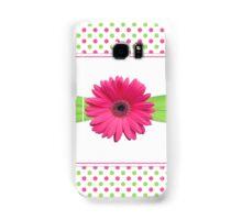 gerbera daisy flower hot pink green polka dot ribbon Samsung Galaxy Case/Skin