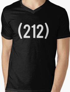 (212) White Mens V-Neck T-Shirt