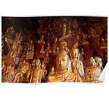 buddhas in a cave Poster