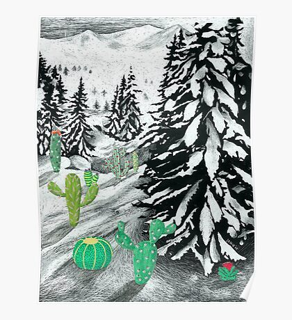 Cactus Winter Wonderland Poster