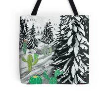 Cactus Winter Wonderland Tote Bag