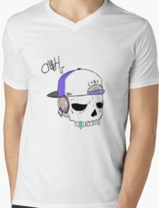 Swag Skull Mens V-Neck T-Shirt