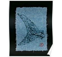 Mako Tail on Pale Blue Unryu Paper Poster