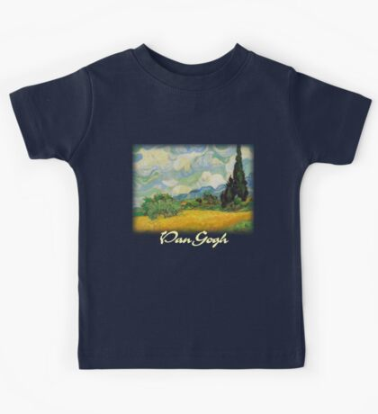 Vincent Van Gogh - Wheat Fields with Cypress Kids Tee