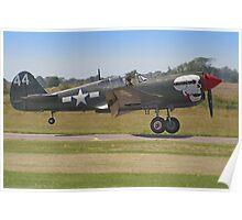 Curtiss P-40M Kittyhawk Touchdown - Shoreham 2013 Poster