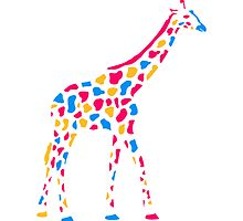 Giraffe Africa Savannah colorful paint walking pat by Style-O-Mat