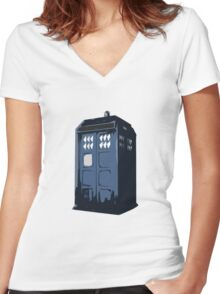 The BLUE Police Box - Tardis Women's Fitted V-Neck T-Shirt