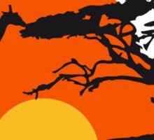 Africa sunset tree giraffe landscape feeding in th Sticker