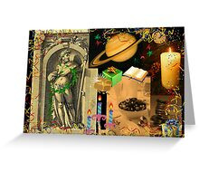 Saturn, god of plenty, wealth, agriculture and peace (month of December) Greeting Card