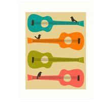 BIRDS ON A GUITAR STRING Art Print