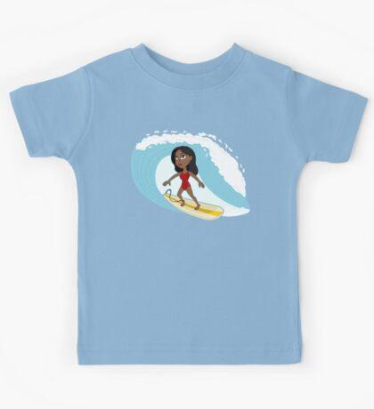 Surfer girl cartoon Kids Tee