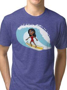 Surfer girl cartoon Tri-blend T-Shirt