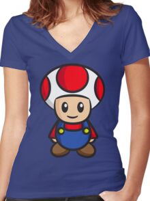 Mario Toad Women's Fitted V-Neck T-Shirt