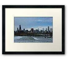 Wintry Windy City Skyline - Chicago, Illinois, USA Framed Print