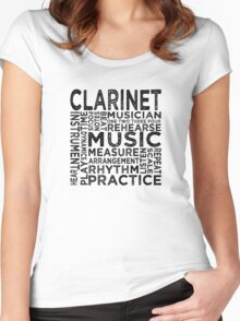Clarinet Typography Women's Fitted Scoop T-Shirt
