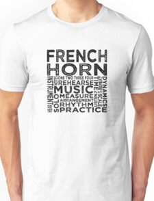 French Horn Typography Unisex T-Shirt