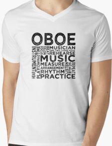Oboe Typography Mens V-Neck T-Shirt
