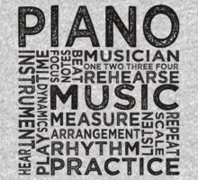 Piano Typography Kids Clothes