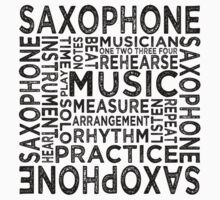 Saxophone Typography Kids Clothes