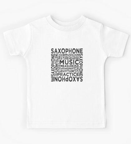 Saxophone Typography Kids Tee