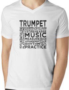 Trumpet Typography Mens V-Neck T-Shirt
