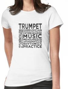 Trumpet Typography Womens Fitted T-Shirt