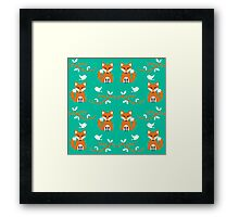 Cute Woodland Creatures Orange Fox Birds and Trees Pattern Framed Print
